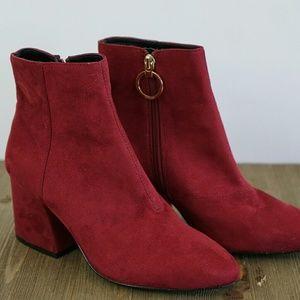 Deep red suede Top Shop booties size 5 NWOT